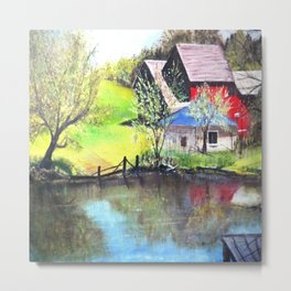 Red Barn On Lake Metal Print