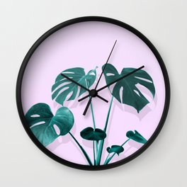 Monstera Palm on Musk Wall Clock