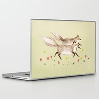 running Laptop & iPad Skins featuring Running Foxes by Sophie Corrigan