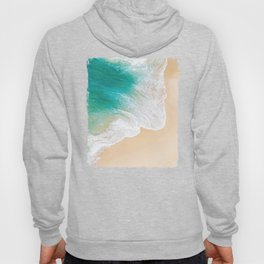 Sand Beach - Waves - Drone View Photography Hoody