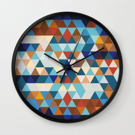 Geometric Triangle Blue, Brown  - Ethnic Inspired Pattern Wall Clock