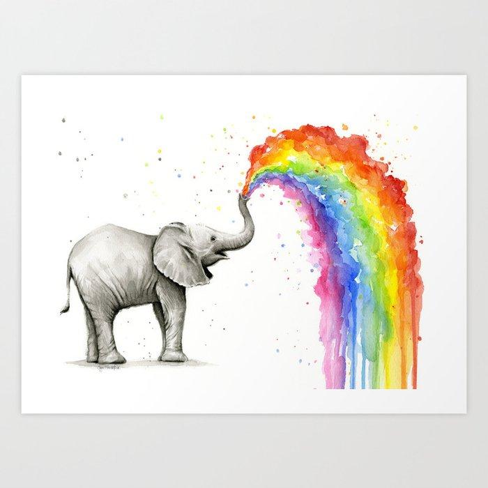 Rainbow Baby Elephant Art Print By Olechka Society6