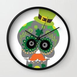 Irish Sugar Skull Funny St Patricks Day Wall Clock