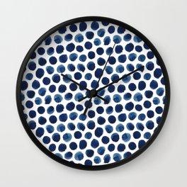 Large Indigo/Blue Watercolor Polka Dot Pattern Wall Clock