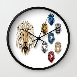 Colored Lions Wall Clock
