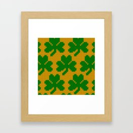 Shamrock pattern - orange, green Framed Art Print