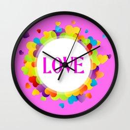 Pink Love Hearts Wall Clock