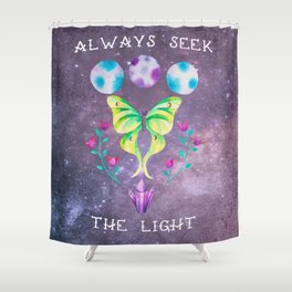 Always Seek the Light - Luna Moth Moon Crystals Boho Watercolor Shower Curtain