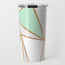 Mint Green, Grey & Gold Geo Travel Mug