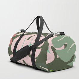 Tropical leaves green and pink paradises Duffle Bag
