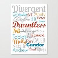 divergent Canvas Prints featuring Divergent Illustration by A Novel Gift