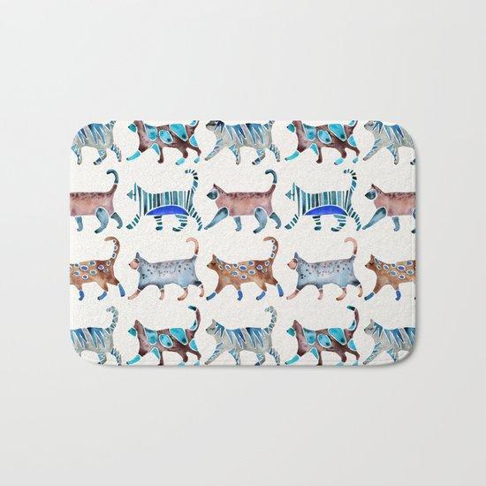 Cat Collection – Blue & Brown Palette Bath Mat