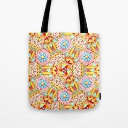 Pink Paisley Hexagons Tote Bag