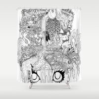 oasis Shower Curtains featuring Oasis by KadetKat