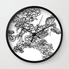 Coral henna doodle: ink and time Wall Clock