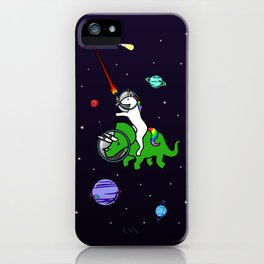 Unicorn Riding Triceratops In Space iPhone Case
