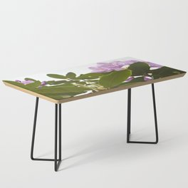 Pink Azalea Flowers with Spring Green Leaves Coffee Table