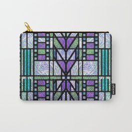 Aqua and Green Art Deco Stained Glass Design Carry-All Pouch