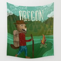 oregon Wall Tapestries featuring Oregon by Santiago Uceda