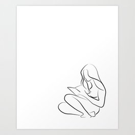 Woman Reading Line Drawing - Reading Rita Art Print