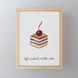 Life Is Short, Dessert Quote Framed Mini Art Print