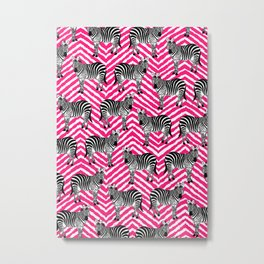 Zebra, Chevron, Pink, Cute, Nursery, Kids, Girl, Minimal, Pattern, Modern art Metal Print