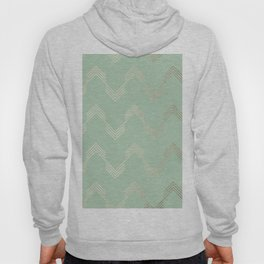 Simply Deconstructed Chevron in White Gold Sands and Pastel Cactus Green Hoody