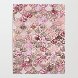 Rose Gold Blush Glitter Ombre Mermaid Scales Pattern Poster