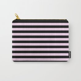 Pink Lace Pink and Black Horizontal Stripes Carry-All Pouch