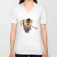 borderlands V-neck T-shirts featuring Borderlands Claptrap Watercolour by DifficultyEasy