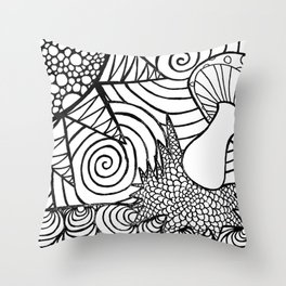 Funky Abstract Muhroom Zendoodle Scene Throw Pillow