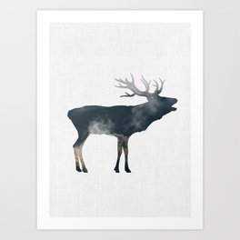 Elk and Mountains Art Print