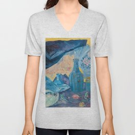 Harmonie en Bleu (Harmony in Blue) fans, china, flowers, shoes and shimmering clothes by James Ensor Unisex V-Neck