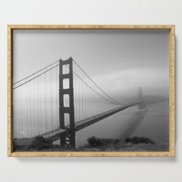 The Golden Gate Bridge In A Mist Serving Tray