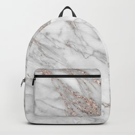 Pink Rose Gold Blush Metallic Glitter Foil on Gray Marble Backpack
