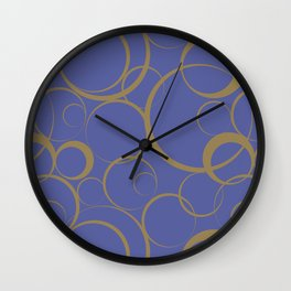 Dark Blue and Brown Funky Ring Pattern V42 Accent Shades To Pantone 2021 Colors of the Year Wall Clock