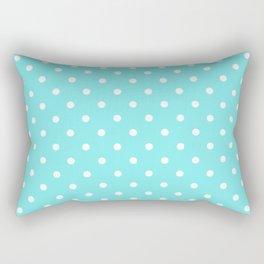 White polkadot spot on solid aqua belle Rectangular Pillow