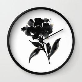 Elegant Ink Floral Wall Clock