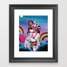 In the Candy Clouds of the Sticker Kingdom Framed Art Print