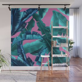 tropical banana leaves pattern pink Wall Mural