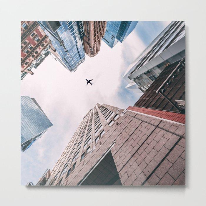 Plane Over New York City Metal Print