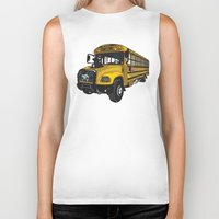 school Biker Tanks featuring School bus by mangulica illustrations