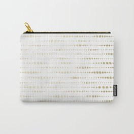 Modern Gold Polka Dot Stripes Carry-All Pouch