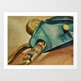 Rock Climbing Belay Device and Carabiner Art Print