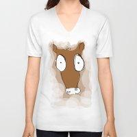 donkey V-neck T-shirts featuring Donkey by Frances Roughton