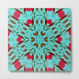 Aqua Art Dec Kaleidoscope Metal Print