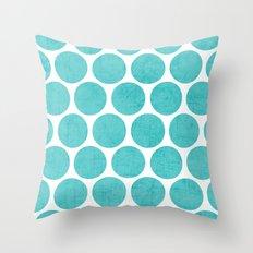 aqua polka dots Throw Pillow