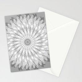White dahlia mandala Stationery Cards