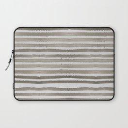 Simply Shibori Stripes Earth Brown on Lunar Gray Laptop Sleeve