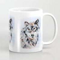 valentina Mugs featuring She Wolf - Animal Art by Valentina Miletic by Valentina Miletic Art